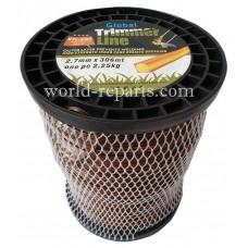 Леска для триммера Global 2.7 мм-306 м kvadrat